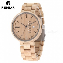 REDEAR 1639 Natural Wooden Watch, Quartz Wristwatch with Date Display for Men - Maple
