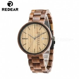REDEAR 1639 Natural Wooden Watch, Quartz Wristwatch with Date Display for Men - Brown