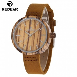 REDEAR 1640 Fashion Luxury Wood Dress Wristwatch, Quartz Watch with Leather Band for Men, Women