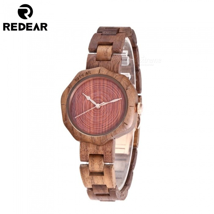 REDEAR 1644 Unique Fashion Top Walnut Wood Womens Quartz Watch with Wooden Band - WalnutQuartz Watches<br>ColorWalnutModel1644Quantity1 setShade Of ColorBrownCasing MaterialWoodWristband MaterialWoodSuitable forAdultsGenderWomenStyleWrist WatchTypeFashion watchesDisplayAnalogMovementQuartzDisplay Format12 hour formatWater ResistantFor daily wear. Suitable for everyday use. Wearable while water is being splashed but not under any pressure.Dial Diameter4.1 cmDial Thickness1.1 cmWristband Length23 cmBand Width1.8 cmBatterySony 626Packing List1 x Watch1 x Box1 x Hole puncher1 x Specification<br>