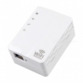 Portable 300Mbps Wi-Fi Wireless Network Signal Repeater for Office Home - White (US Plug)