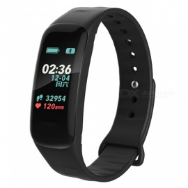 "0.96"" Colorful Screen Waterproof Bluetooth Smart Band Bracelet with Heart Rate Monitor, Blood Pressure Monitor - Black"