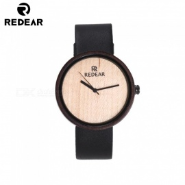 REDEAR 1647 Vintage Design Bamboo Wooden Quartz Watch with Real Leather Band for Men, Women