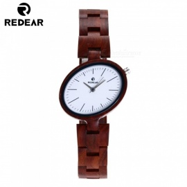 REDEAR 1680 Unique Fashion Wooden Watch with Wooden Band Strap for Women - Red Sandalwood