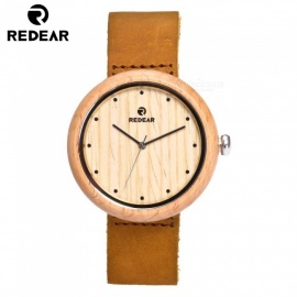 REDEAR Unisex Wooden Watch with Brown Cowhide Leather Strap