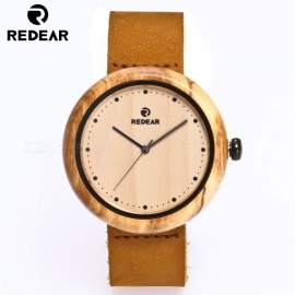 REDEAR Unisex Olive Wood Quartz Watch with Brown Cowhide Leather Strap