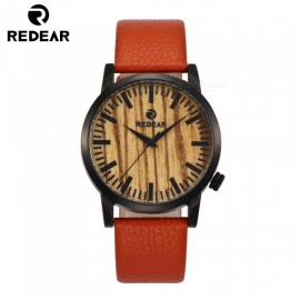 REDEAR 1697 Luxury Men's Women's Bamboo Wood Quartz Watch with Genuine Leather Strap Band - Black