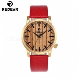 REDEAR 1697 Luxury Men's Women's Bamboo Wood Quartz Watch with Genuine Leather Strap Band - Golden