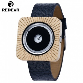 Redear 1724 Big Square Shape Dial Wooden Watch with Leather Strap for Men - Maple