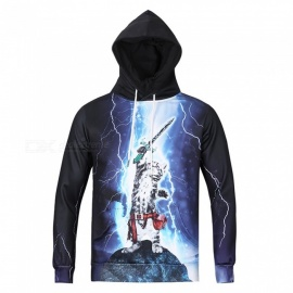 CTSmart L6002 Men's Cool High-Definition 3D Printing Hooded Sweater Hoody Hoodie - Black (XL)