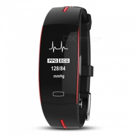 P3 Smart Bracelet with Blood Pressure, Heart Rate Monitor, Activity Tracker, GPS - Black + Red