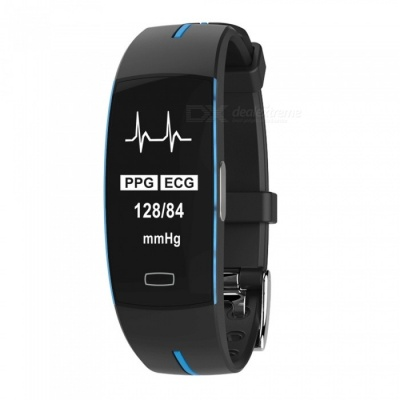P3 Smart Bracelet with Blood Pressure, Heart Rate Monitor, Activity Tracker, GPS - Black + Blue