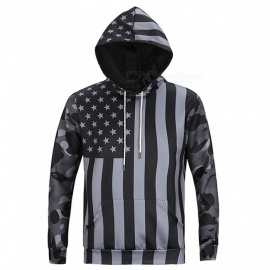 CTSmart L6019 Men's Cool US Flag Style Hooded Sweater Hoody Hoodie - Gray (L)
