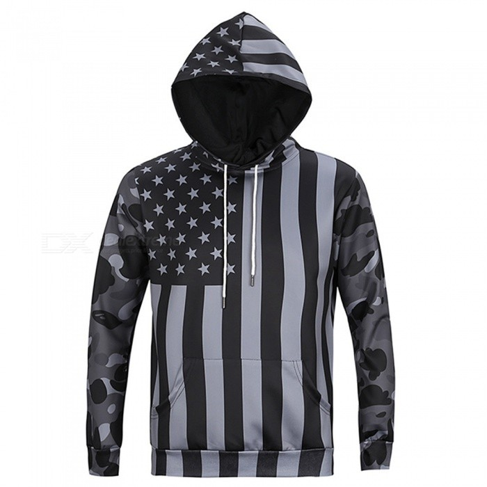 CTSmart L6019 Mens Cool US Flag Style Hooded Sweater Hoody Hoodie - Gray (XL)Hoodies &amp; Sweatshirts<br>ColorgraySizeXLModelL6019Quantity1 pieceShade Of ColorGrayMaterialPolyester + cottonStyleSportsShoulder Width47 cmChest Girth108 cmWaist Girth108 cmSleeve Length62 cmTotal Length69 cmSuitable for Height175 cmPacking List1 x Sweater<br>