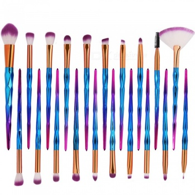 MAANGE 20Pcs Colorful Cosmetic Foundation Eyebrow Lip Make-Up Brush Set - Purple + Blue