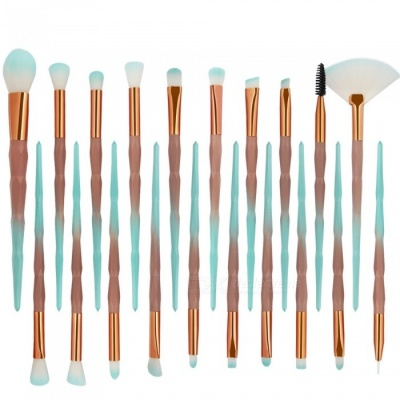 MAANGE 20Pcs Colorful Cosmetic Foundation Eyebrow Lip Make-Up Brush Set - Brown + Green