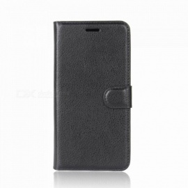 Lychee Pattern Protective PU Case for Huawei Honor 6A - Black