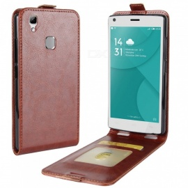 Stylish Up-Down Flip Open Protective PU Case for Doogee X5 MAX - Brown