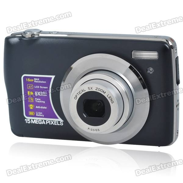 "8.1MP CMOS Compact Digital Video Camera w/ 5X Optical Zoom/SD Slot (2.7"" TFT LCD)"