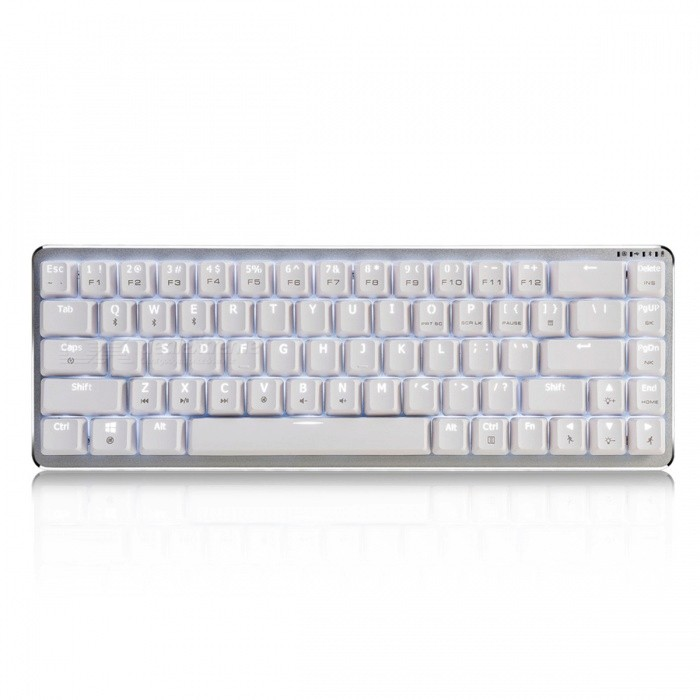 AJAZZ Wireless Bluetooth Zinc Alloy Mechanical Keyboard - Cheery Blue SwitchGaming Keyboards<br>SizeBlue SwitchColorWhiteMaterialMetalQuantity1 pieceInterfaceUSB 3.0Wireless or WiredWired,BluetoothBluetooth VersionBluetooth V4.0Compatible BrandAPPLE,Dell,HP,Toshiba,Acer,Lenovo,Samsung,MSI,Sony,IBM,Asus,Thinkpad,Huawei,GoogleAxis68Tracking MethodTouch PadBack-litYesOperation Distance10 mAnti-ghosting KeyallPowered ByBuilt-in Battery,USBBattery included or notNoCharging Time4 hourBattery Capacity3000 mAhWaterproofNoTypeGaming,ErgonomicSupports SystemWin xp,Win 2000,Win 2008,Win vista,Win7 32,Win7 64,Win8 32,Win8 64Packing List1 x Keyboard1 x Instructions1 x Data Cable<br>