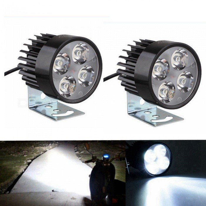 Sencart Universal 4-LED Spot Light, DC10-80V Headlight Lamp for Bicycles Cars Trucks Motorcycle - Black (2 PCS)