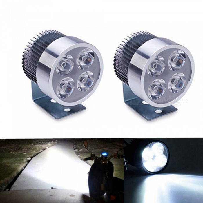 Sencart Universal 4-LED Spot Light, DC10-80V Headlight Lamp for Bicycles  Cars Trucks Motorcycle - Silver (2 PCS)