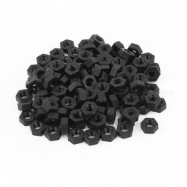 RXDZ metric M3 thread nylon inserção parafuso de trava parafusos hexagon hex nuts black - 100PCS