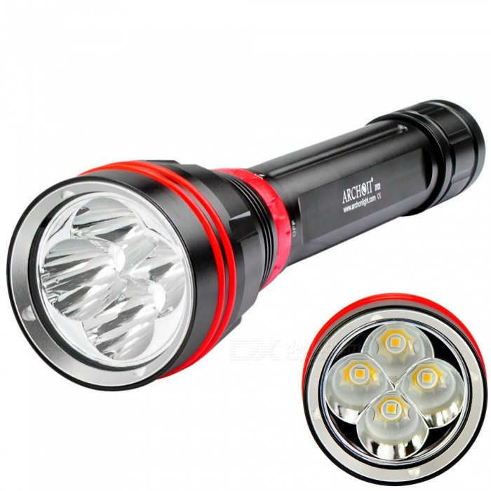 ARCHON DY02 WY08 CREE XP-L 4-LED 4000LM Diving Flashlight, 100 Meters Underwater Light (No Battery / Charger)Diving Flashlights<br>ColorNo Battery or ChargerQuantity1 setMaterialAluminumSwitchEmitter BrandCreeLED TypeXM-LEmitter BINU2Color BINWhiteNumber of Emitters4Theoretical Lumens4000 lumensActual Lumens4000 lumensPower Supply26650*2Working Voltage   8.4-6.0 VCurrent- ARuntime1.5-5 hoursNumber of Modes3Mode ArrangementHi,Low,SOSMode MemoryNoSwitch TypeOthers,Magnetic rotarySwitch LocationTail TwistyLens MaterialPCReflectorAluminum SmoothWorking Depth Underwater100 mStrap/ClipStrap includedPacking List1 x DY02 Diving Flashight2 x Spare O-rings1 x Hand strap1 x Manual 1 x AIBBER TONE led key chain<br>