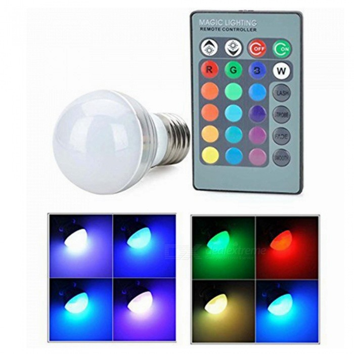 ZHAOYAO E27 3W 85-265V 16-Color Changing Dimmable 3W RGB LED Light Bulb with Remote ControlE27<br>Emitting ColorRGBMaterialAluminumForm  ColorWhiteQuantity1 setPower3WPower SupplyOthers,85-265 VConnector TypeE27Emitter TypeLEDTotal Emitters4Color BINRedActual Lumens50-250 lumensColor Temperature6000KDimmableYesBeam Angle120 °Wavelength635-655nmOther FeaturesWavelength: red:635-655nm, green: 515-545, blue: 455-465nm. With a remote controller(1 x CR2025 button cell, voltage 3V), remote control distance is 2-5MPacking List1 x LED1 x Remote control<br>