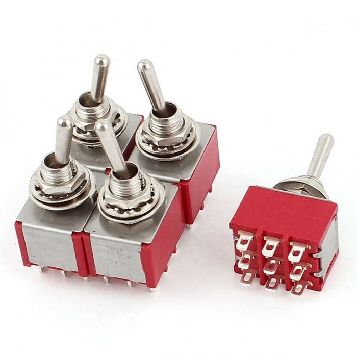 RXDZ AC 250V/2A 125V/5A 3PDT ON-ON 2 Positions 9 Pins Latching Miniature Toggle Switch - 5PCSDIY Parts &amp; Components<br>ColorRedQuantity5 pieceMaterialMetal plasticEnglish Manual / SpecNoCertificationNOPacking List5 x Toggle Switch<br>