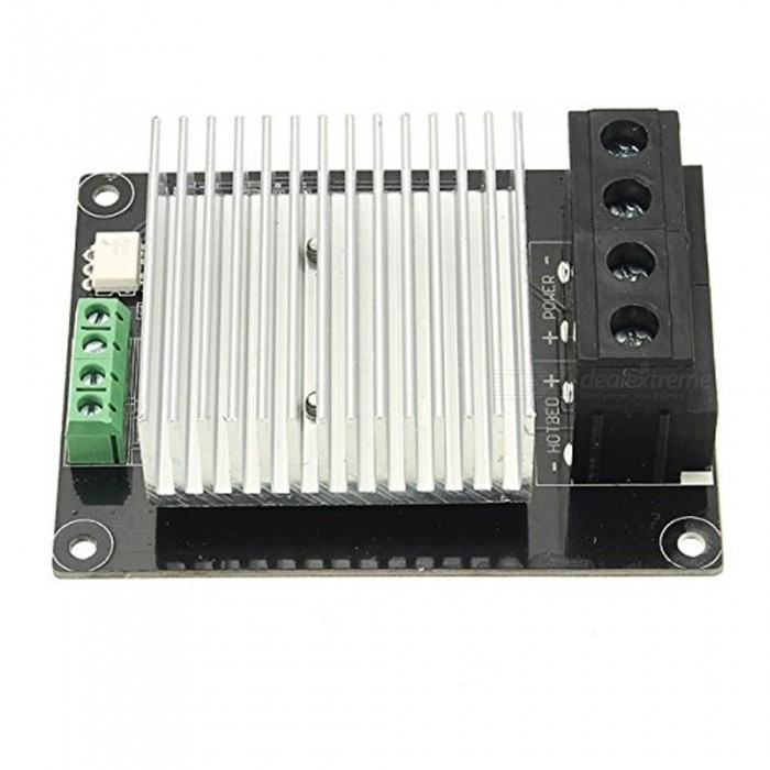 ZHAOYAO 30A High Current 3D Printer Heating Controller3D Printer Parts<br>ColorSilver + BlackModelMKSMOSQuantity1 setMaterialPCBOther FeaturesPower: 12V-24V;<br>Large heat sink, the current can be up to 30A<br>Can be directly used Ramp1.4 and MKS series hot-bed output signal control.<br>You can use 5-24v digital signal control.Packing List1 x Heating controller<br>