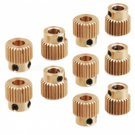 ZHAOYAO 10Pcs Brass 26-Toothed Geared Extruders for 3D Printer MK7 MK8