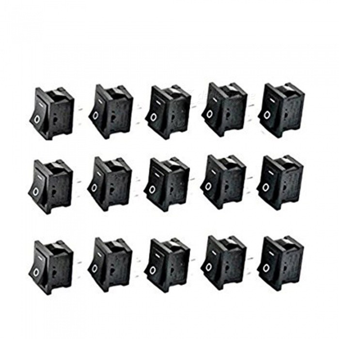 ZHAOYAO AC 6A/250V 10A/125V 2 Solder Lug SPST On/Off Mini Boat Rocker Switch (15 PCS)DIY Parts &amp; Components<br>Quantity15 PCSQuantity1 setMaterialPlastic &amp; MetalEnglish Manual / SpecNoCertification-Packing List15 x Rocker Switches<br>