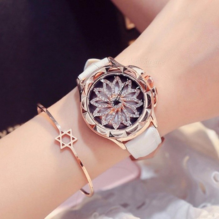 Crystal Rhinestone Dial Women Lady Rotation Dress Watch with Real Leather Band, Big Round Dial Bracelet Wristwatch White