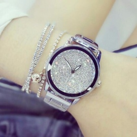 Luxury Austrian Crystal Rhinestone Round Dial Women Lady Dress Watch with Stainless Steel Band, Diamond Bracelet Wristwatch silver