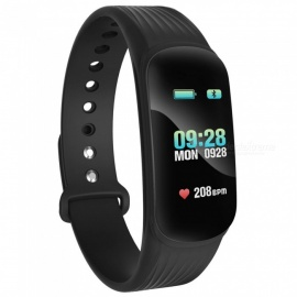"0.96"" Colorful Screen Bluetooth Smart Band Bracelet with Heart Rate Blood Pressure Monitoring - Black"