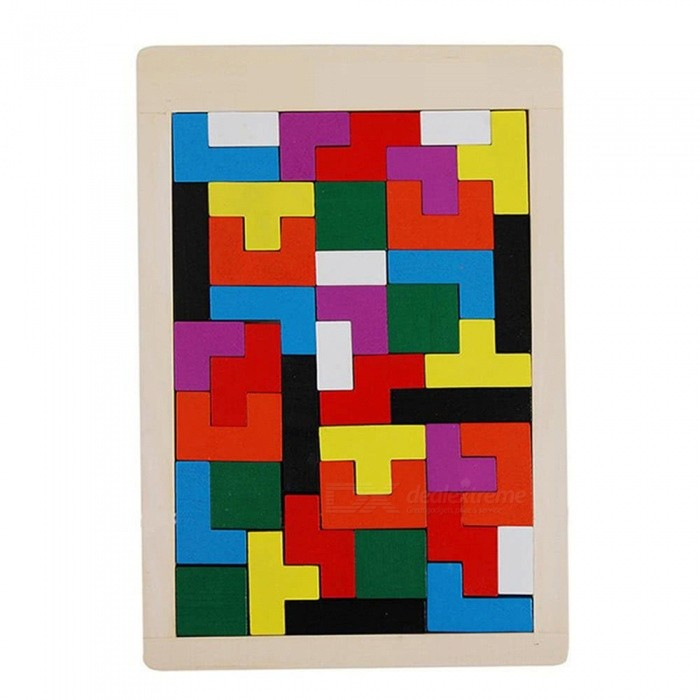 40-Piece Wooden Tangram Jigsaw Brain Tetris Block Intelligence Toy for Kids - Mixed Color