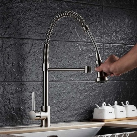 F-9009N Brass Brushed 360 Degree Rotatable Ceramic Valve Single Handle One-Hole Kitchen Faucet