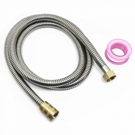 1.5m Stainless Steel Shower Hose Inlet Pipe / Outlet Pipe + Thread Seal Tape - Silver