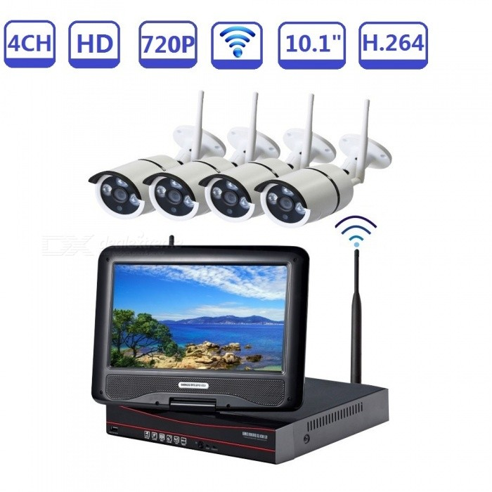 Strongshine 4x720P Wireless Waterproof IR-cut Night Vision IP Camera Security Kit with WIFI NVR, 10.1 LCD Screen - US PlugNVR Cards &amp; Systems<br>ColorBlack+WhitePower AdapterUSModelST-NVR9410NMWKITS-1.0MPMaterialMetal+PlasticQuantity1 setSystem ResourcesMulti-channel real-time recording synchronously,Multi-channel real-time playback,USB back upOperating SystemWindows 7,Android 3.0,Android 3.1,Android 3.2,Android 4.0,Linux,Windows 8,iOSRemote MonitoringNoPower AdaptorYesPower SupplyOthers,DC 12VMobile Phone PlatformAndroid,iOSWorking Temperature-20~50 ?Working Humidity10%~90%Video StandardsH.264Decode FormatH.264Multi-mode Video InputWIRELESS OR WIREDMotion DetectionYesAudio Compression FormatAACAudio Input4 channelsAudio  Output1 ChannelVideo Input4 channelsVideo Output4 channelsMonitor Quality4ch 1080/4ch 960P/4ch 720P  Real Time Recording.Playback Quality1ch 720P or 960P realtime playback.Encode CapabilityH.264Decode CapabilityH.264Record ModeManual,Alarm,Motion DetectionVideo SearchTime,Date,Channel SearchStorageNoVideo StorageLocal HDD,NetworkBack up ModeNetwork backup,USB portable,HDDUSBUSB 2.0HDD PortSATAPacking List1. 1* WIFI NVR built-in 10.1 inch LCD screen2. 1* Power supply for NVR3. 1* Mouse for NVR 4. 4* 720P WIFI IP Camera5. 4* Power supply for WIFI IPC6. 1* User manual of NVR7. Screw and other parts<br>