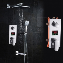 DRS200 Contemporary Brass Chrome Wall Mounted Rain Shower Handshower Faucet with Constant Temperature Digital Display