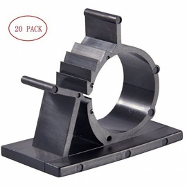 Self-Adhesive Wire Holder Cable Organizer, Cord Management Clamps with Adjustable Back - Black (S / 20 PCS)