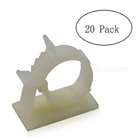 Self-Adhesive Wire Holder Cable Organizer, Cord Management Clamps with Adjustable Back - White (L / 20PCS)