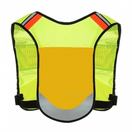 Ctsmart Multipurpose Outdoor Night Riding Running Vest Adjustable Reflective Vest - Yellow (One Size)