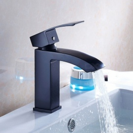 F-8068B Brass Waterfall Black Spray Paint Single Handle One-Hole with Ceramic Valve, Bathroom Sink Faucet