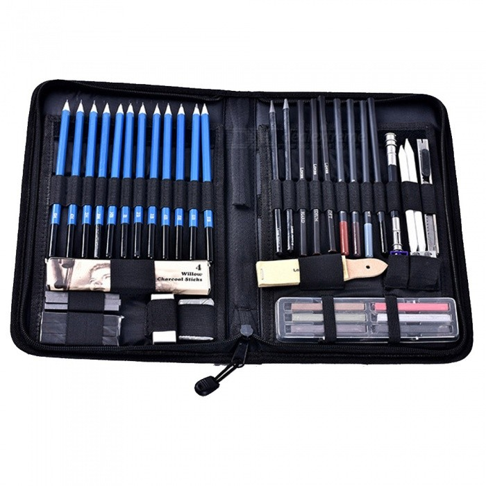 ZHAOYAO 48Pcs Professional Sketch Art Drawing Tools Set, Sketch Pencils, Professional Art Supplies and Drawing PencilsPencil<br>Quantity48PCSMaterialGreen materialQuantity1 setRefill ColorBlackPacking List1 x 48-Piece Sketch Art Drawing Tools Set<br>