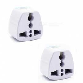 250V 10A Universal Multifunctional Power Adapter Plug - White / US Plug (2 PCS)