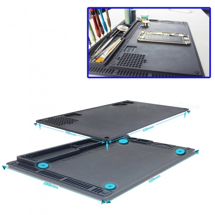 OJADE Double-Sided Anti-Static Heat Insulation Electronic Maintenance Platform Table Pad Mat - GrayOther Tools<br>ColorGrayQuantity1 setMaterialSilica gelPacking List1 x Tool<br>