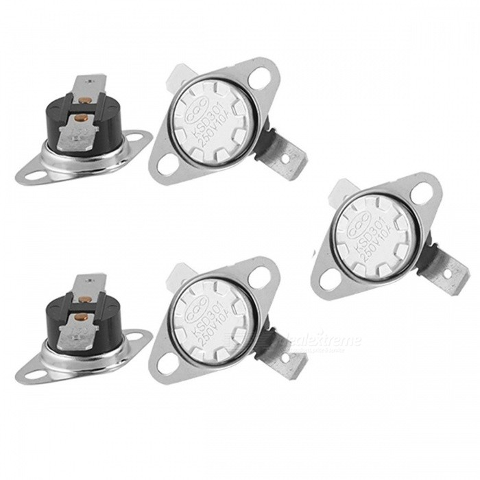 ZHAOYAO KSD301 5Pcs Temperature Control Switch Thermostat w/ 150 Celsius N.C.DIY Parts &amp; Components<br>ColorSilverQuantity1 setMaterialMetal, PlasticEnglish Manual / SpecNoCertification-Packing List5 x Temperature Switch Thermostat<br>