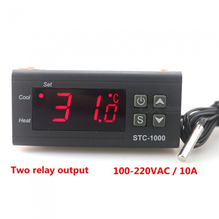 ZHAOYAO STC-1000 Two Relay Output LED Digital Temperature Controller Thermostat Incubator with Heater and Cooler, 110V-220V 10AOther Measuring &amp; Analysing Instruments<br>Rate Voltage110-220VModelSTC-1000Quantity1 setMaterialMetal, PlasticPowered ByOthers,110-220VBattery included or notNoPacking List1 x Temperature Controller1 x Temperature sensor1 x Instruction Manual<br>
